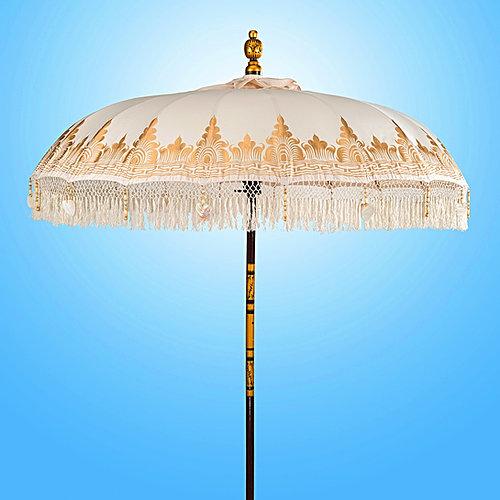 Bali Nirvana cream white Bali Parasol original Balinese umbrellas handmade - Bali-parasol.com